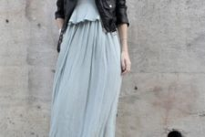 07 a flowy aqua-colored maxi dress, a black leather jacket and black army boots