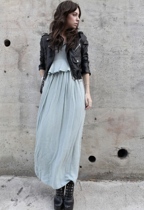 a flowy aqua-colored maxi dress, a black leather jacket and black army boots