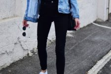 07 black jeans, a blakc logo tee, a blue denim jacket and white sneakers