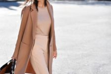 07 blush pants, a tan top, a cemal coat and heels for a pastel and neutral outfit