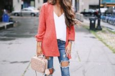 07 blush strappy heels, ripped skinnies, a white top, a coral cardigan and a blush bag