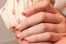 07 nude and orange nails with a geometric design for a bold yet not too much touch