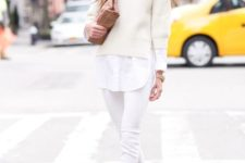 07 white jeans, a white shirt, a white sweater, white heels and a brown bag