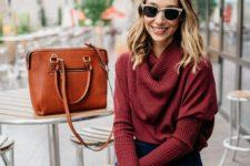 08 a burgudy turtleneck sweater, a navy velvet knee skirt and an orange bag