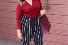 08 a burgundy shirt, striped pants, heels and a plum-colored bag for a touch of color