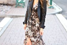 08 a floral maxi dress with a slit, a black leather jacket and black strappy heels to impress