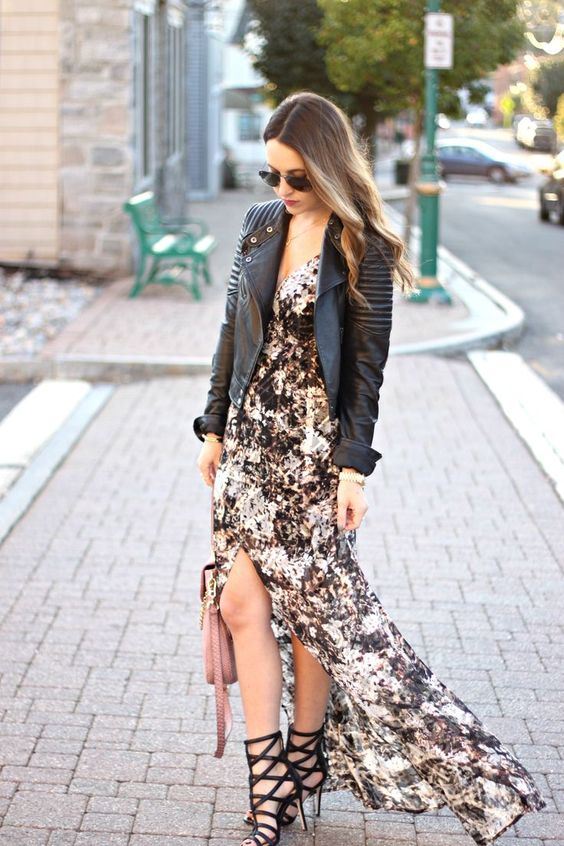 a floral maxi dress with a slit, a black leather jacket and black strappy heels to impress