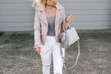 08 a grey tee, white jeans, grey velvet shoes and a blush leather jacket