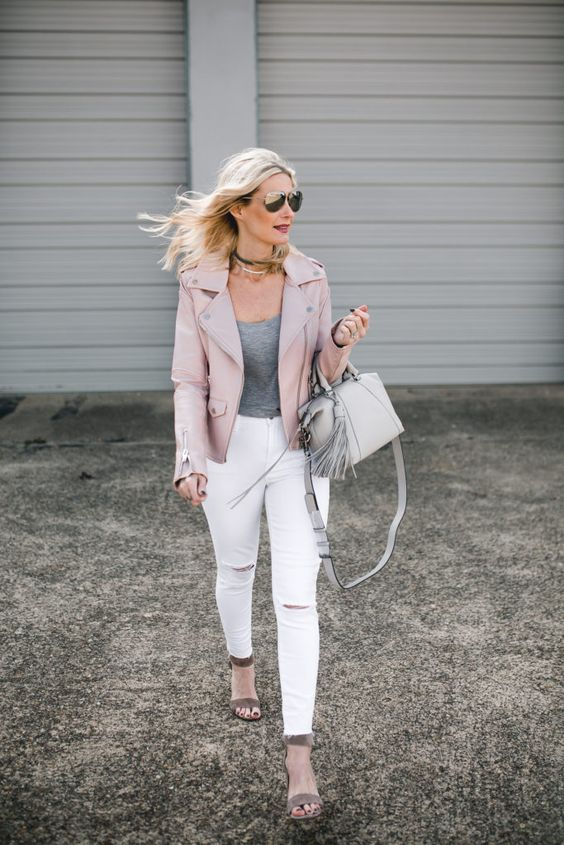 a grey tee, white jeans, grey velvet shoes and a blush leather jacket