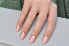 08 a pink manicure with silver half moons is a chic work-appropriate idea to try