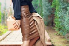 09 a black shirt, a brown pencil leather skirt, leopard shoes and a tan trench