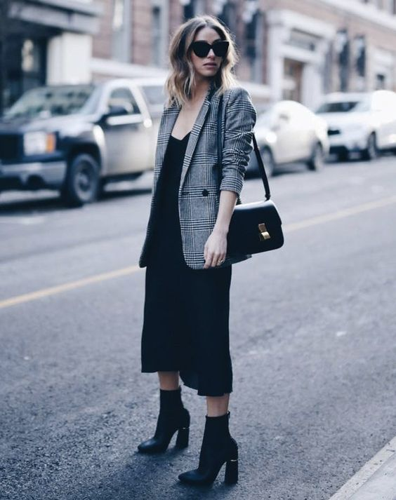 a black slip dress, black boots, a plaid jacket and a black bag