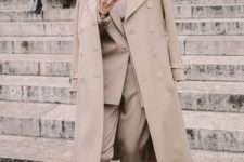 09 a camel pantsuit, a matching top and trench plus white sneakers for work