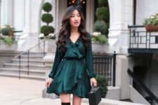 09 a fall date night outfit with a forest green ruffled wrap dress, black velvet boots and a bag