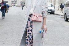 10 a pastel fall look with a grey plaid coat, a white top, a floral midi skirt and bow heels