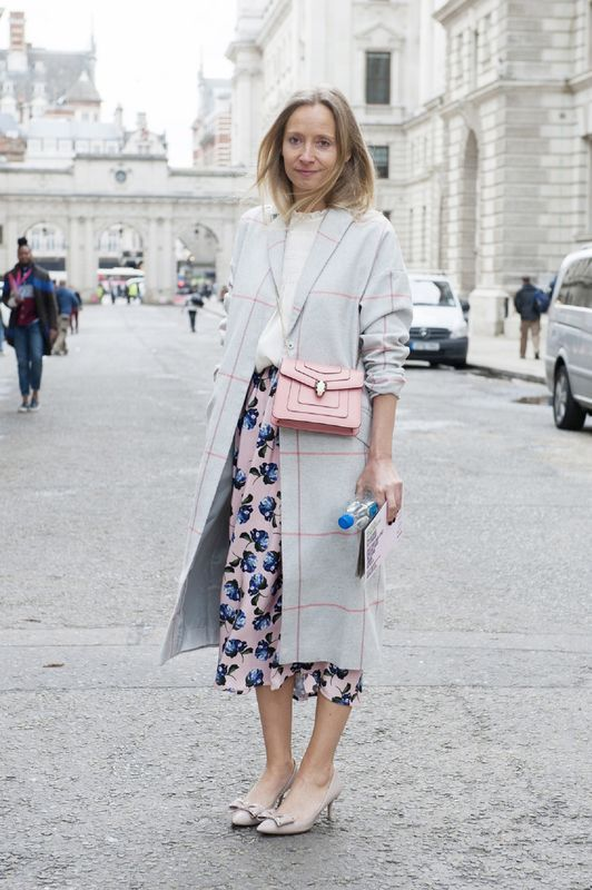 a pastel fall look with a grey plaid coat, a white top, a floral midi skirt and bow heels