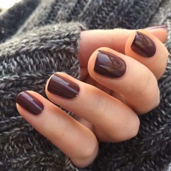 chocolate nails for a colored yet muted enough touch to the look