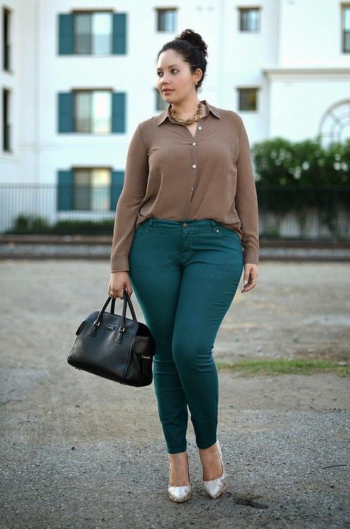 emerald jeans, a taupe shirt, metallic shoes and a black bag for a comfy fall look