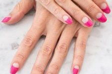 11 a bold and colorful take on French nails with long pink tips