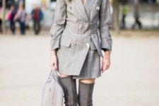 11 a creative look with a grey checked blazer dress, high grey suede boots and a bag