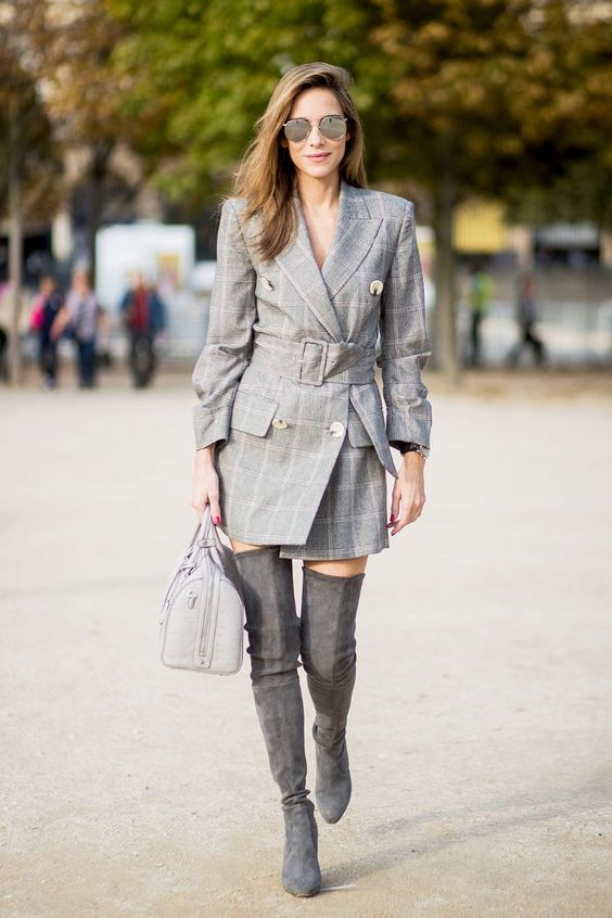 a creative look with a grey checked blazer dress, high grey suede boots and a bag