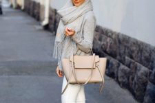 11 a grey long sleeve, white jeans, a grey scarf, a blush bag and slipons
