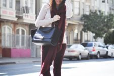 11 a simple combo of a white top, plum-colored pants and a scarf and a black bag