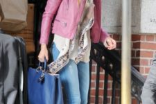 11 a white shirt, a scarf, blue denim, grey suede booties and a pink leather jacket