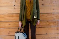 11 brown pants, a mustard cardigan, a coral shirt, a muted green blazer and brown boots