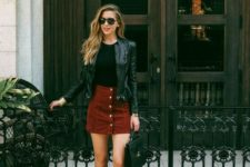 12 a date look with a bburgundy suede skirt, a black tee, a black leather jacket, black boots for a rock touch