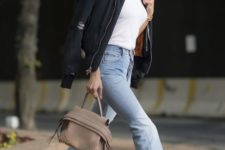 12 a white tee, blue jeans with a raw hem, nude shoes and a black bomber jacket