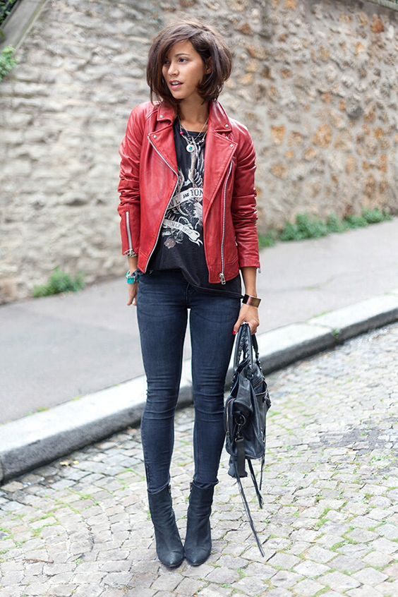 black denim, black suede boots, a printed tee and a red leather jacket for a rock touch