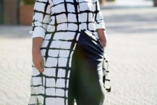 12 green culottes, green strappy heels and a windowpane long shirt plus a necklace
