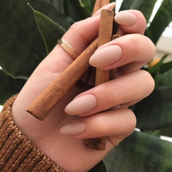 matte nude nails that match your skin color is a classic option
