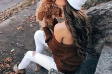 13 a fall look with a brown off the shoulder sweater, white ripped jeans, nude booties and a white beanie