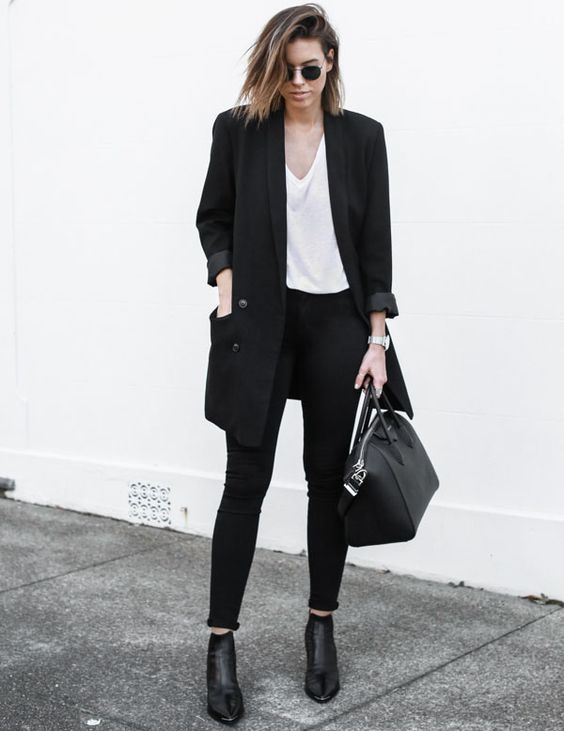 a monochromatic look with an oversized black blazer for a trendy touch