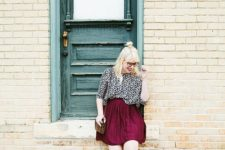 13 a printed blouse in black and white, a plum skirt, earthy strappy flats