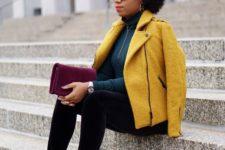 13 black velvet pants, a dark green turtleneck, printed shoes and a mustard jacket