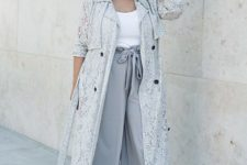 13 grey culottes, a white top, a lace trench, blush shoes for a neutral work look