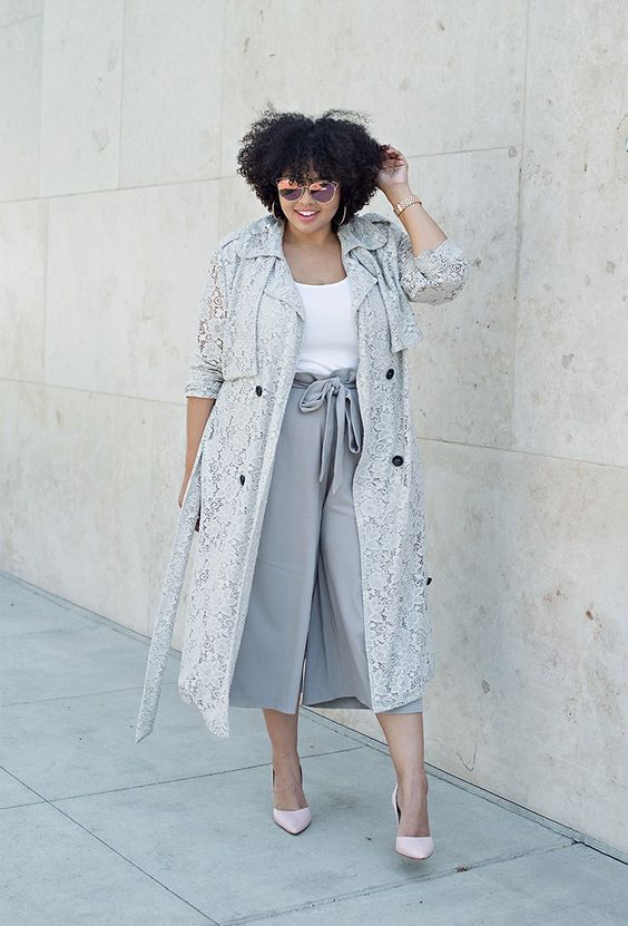 grey culottes, a white top, a lace trench, blush shoes for a neutral work look