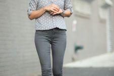 13 grey pants, a grey polka dot shirt, red shoes for a touch of color in the outfit