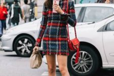 14 a checked tweed mini dress, a red bag and black sock boots