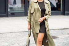 14 a simple look with a black bodycon dress, an olive grene trench, nude shoes and a grey bag