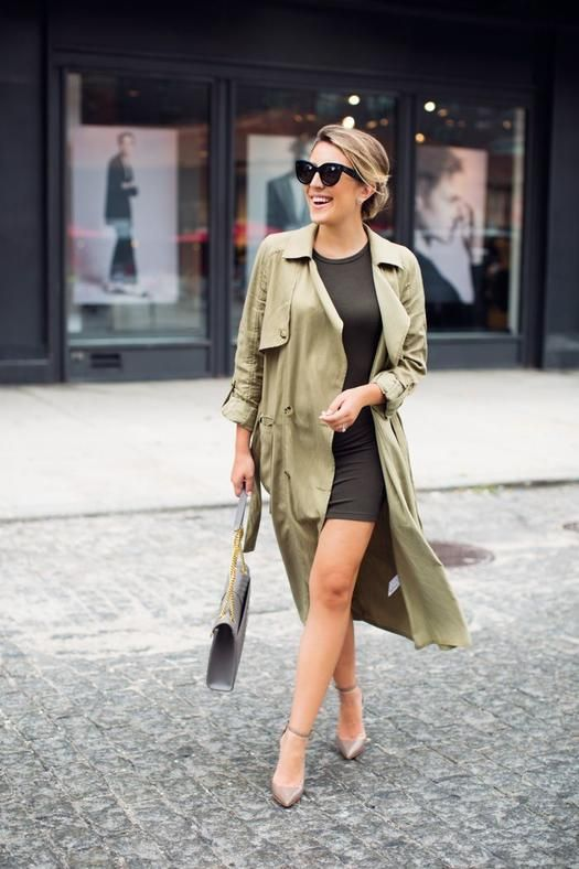 a simple look with a black bodycon dress, an olive grene trench, nude shoes and a grey bag