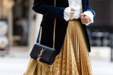 14 a velvet fall look with a white shirt, a navy velvet blazer, a mustard pleated midi skirt