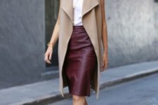 14 a white top, a tan long vest, a burgundy knee skirt, burgundy heels for the fall