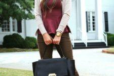 14 brown pants, a plum-colored peplum top, a neutral cardigan, leopard print shoes and a black bag