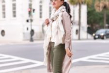 14 olive green jeans, a neutral sweater, a scarf and neutral comfy heels