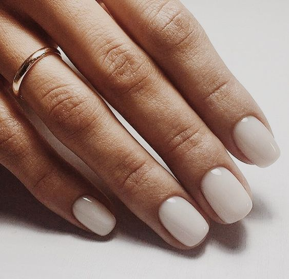 soft ivory nails are always a great idea for any work, they fit many outfits