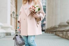 15 a pastel look with a white tee, cuffed jeans, blush slipons, a blush oversized coat